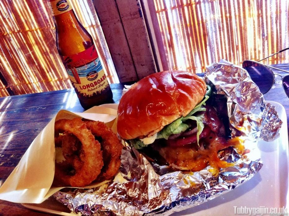 Awajishima Burger - Large Burger with Onion Rings